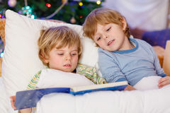 Two little blond sibling boys reading a book on Christmas. Two little blond sibling boys reading a book in bed near Christmas tree with lights and illumination Royalty Free Stock Images