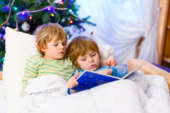 Two little blond sibling boys reading a book on Christmas. Two little blond sibling boys reading a book in bed near Christmas tree with lights and illumination Stock Photo