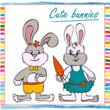 Two little boy and girl bunny Stock Photo