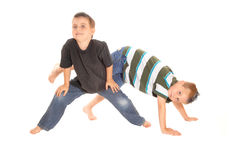 Two little boy's dancing on the floor. Stock Photo