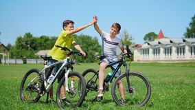 Boys with bicycles in nature. Two little boys with bicycles on the nature communicate with each other, smile. Slow motion stock video