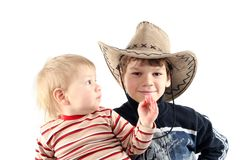 Two little boys (brothers) Stock Photos