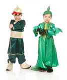 Two little boys in costumes Royalty Free Stock Image