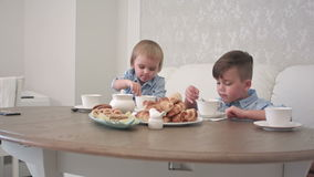 Two little boys drinking tea with pastry at the table. Professional shot in 4K resolution. 092. You can use it e.g. in your commercial video, business stock footage