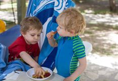 Two little boys eating french fries in summer Stock Image