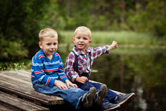 Two little boys fan Royalty Free Stock Photo
