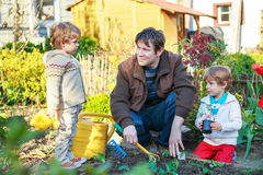 Two little boys and father planting seedlings in vegetable garde Royalty Free Stock Images