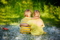 Two little boys friends hug each other in summer  garden. Brothe Royalty Free Stock Photos
