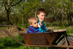 Two little boys  in the garden. Royalty Free Stock Photos