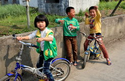 Pengzhou, China: Three Children Playing Royalty Free Stock Photography