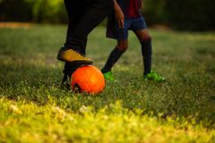 Two little boys having fun playing a soccer game on sunny summer day royalty free stock image