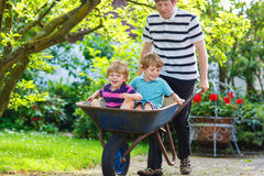Two little boys having fun in wheelbarrow pushing by father Stock Image