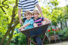 Two little boys having fun in wheelbarrow pushing by father Stock Photo