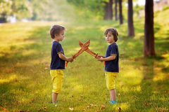 Two little boys, holding swords, glaring with a mad face at each Royalty Free Stock Photos