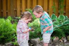 Two Little Boys Looking at an Easter Egg royalty free stock photography