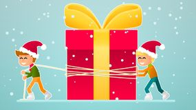 Two little boys move a Christmas gift. New year. Christmas Royalty Free Illustration