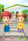 Two little boys near the gasoline station Royalty Free Stock Photos