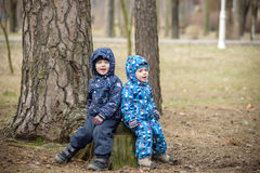 Two little boys playing, on autumn landscape, sitting and smiling  the stump Royalty Free Stock Photos