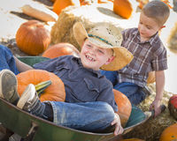 Two Little Boys Playing in Wheelbarrow at the Pumpkin Patch Royalty Free Stock Image