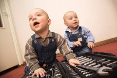 Two little boys plays Royalty Free Stock Photography