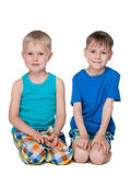 Two little boys together Stock Photo