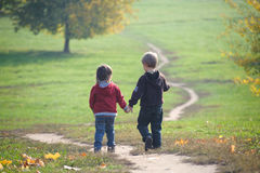 Two little boys walking on the path Royalty Free Stock Image
