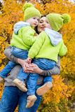 Two little brother and mother on walk Stock Image