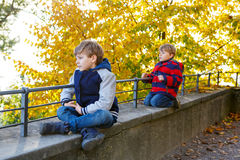 Two little brothers boys with yellow in autumn leaves in colorfu Royalty Free Stock Image
