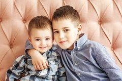 Two little brothers hugging. Children. The concept of family, ch. Ildhood and education stock images