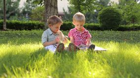 Two little brothers sit on the grass in the Park and look at the photo album. Children sit on the green grass in the summer outdoors and watch the album stock video