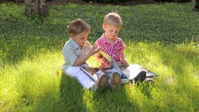 Two little boys with a photo album in the Park.