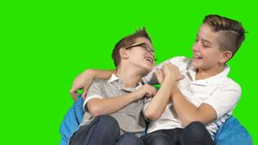 Two brothers are fooling around at green background. Two little brothers sits at green background and fooling around. Playful children are laughing and fools stock footage