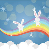 Two little Bunny having fun royalty free stock photos