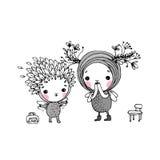 Two little cartoon fairies Stock Image