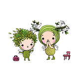 Two little cartoon fairies Royalty Free Stock Photography
