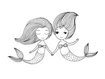 Two little cartoon mermaid. Siren. Royalty Free Stock Photos
