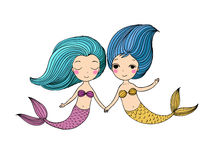 Two little cartoon mermaid. Siren.