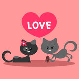Two little cats in love. Romantic card Stock Images