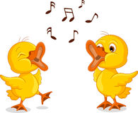 Two little chick cartoon singing Stock Image