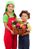 Two little children with basket of fruits Stock Images