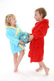Two little children in bathrobe Stock Photo
