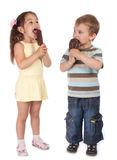 Two little children eating ice cream Stock Photography