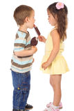 Two little children with ice cream Royalty Free Stock Images