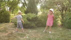 Two little children playing in the Park at sunset. Little brother with sister 4-5 years old playing and jumping in the Park on the grass at sunset, slow motion stock video footage