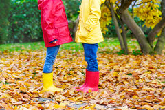 Two little children playing in red and yellow rubber boots in autumn park. In colorful rain coats and clothes. Closeup of happy kids dancing and walking through Stock Photography