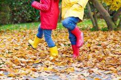 Two little children playing in red and yellow rubber boots in autumn park. In colorful rain coats and clothes. Closeup of happy kids dancing and walking through Stock Image
