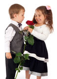 Two little children with red rose Royalty Free Stock Photo