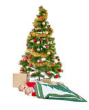 Two little children sleeping and waiting Santa Royalty Free Stock Images