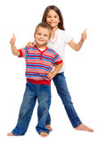 Two little children with thumbs up sign Royalty Free Stock Photos