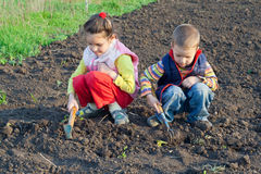 Two little children weed beds Royalty Free Stock Photography